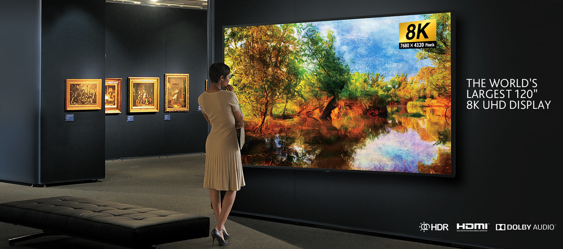 largest 8k screen tv display 120 inches